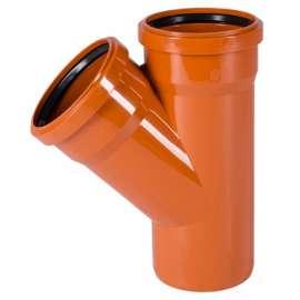 Тройник наружн. канализация D 110x110 угол 45° OSTENDORF, Диаметр канализационной трубы: 110, Размер тройника канализации: D 110x110 угол 45°, фото