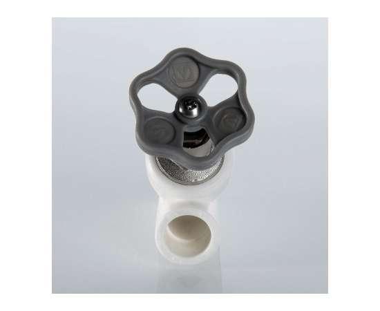 Вентиль полипропиленовый прямоточный 20 бел. VALTEC, Диаметр трубы ППР: 20, фото , изображение 2